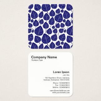 Modelo de las hojas - azul marino tarjeta de visita cuadrada