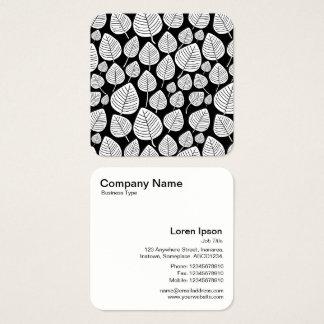 Modelo de las hojas - blanco y negro tarjeta de visita cuadrada