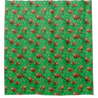 Modelo de las hojas de la panda roja y del bambú cortina de baño