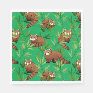 Modelo de las hojas de la panda roja y del bambú servilleta de papel