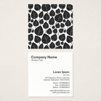 Modelo de las hojas - negro en blanco tarjeta de visita cuadrada