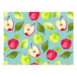 Modelo de las manzanas de la acuarela postal