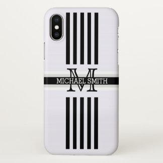 Modelo de las rayas negras del monograma funda para iPhone x