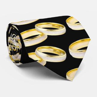 Modelo de los anillos de bodas del oro en negro corbata