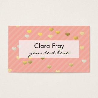 modelo de los corazones del amor de la hoja de tarjeta de negocios