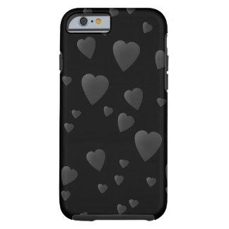 Modelo de los corazones del amor en negro y gris funda de iPhone 6 tough