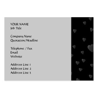 Modelo de los corazones del amor en negro y gris tarjetas de visita grandes