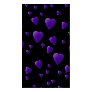 Modelo de los corazones del amor en negro y tarjetas de visita