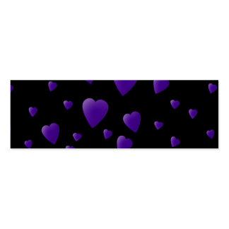 Modelo de los corazones del amor en negro y tarjetas de visita mini