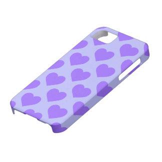 Modelo de los corazones púrpuras iPhone 5 cárcasa