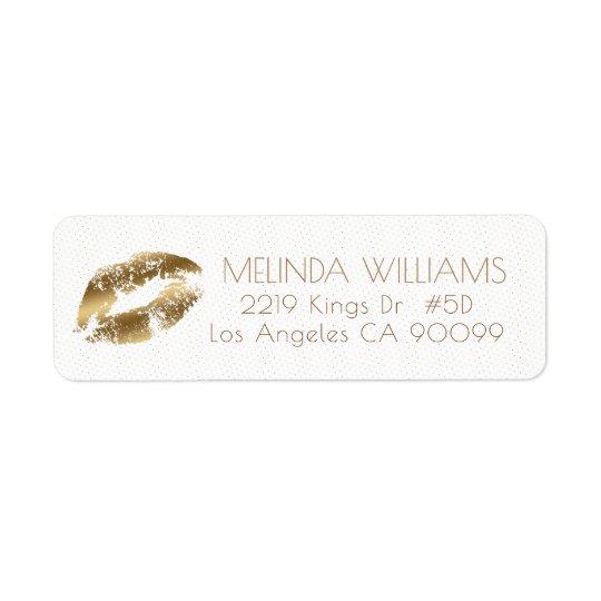 Modelo de los labios y de puntos del oro etiqueta de remite