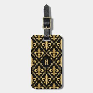 Modelo de lujo con monograma de la flor de lis del etiquetas para maletas