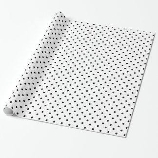 Modelo de lunar blanco y negro papel de regalo