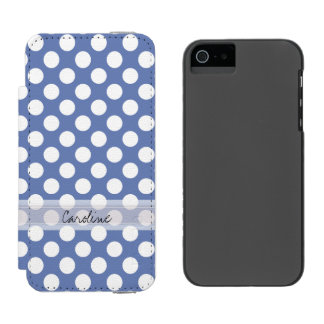 Modelo de lunar de moda blanco azul de la funda cartera para iPhone 5 watson