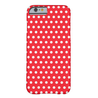 Modelo de lunar rojo y blanco. Manchado Funda Para iPhone 6 Barely There