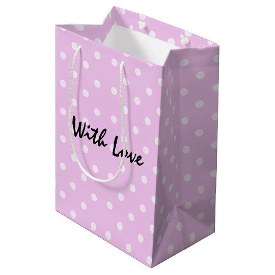 Modelo de lunar rosado de lujo con amor bolsa de regalo mediana