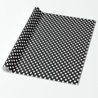 Modelo de lunares blanco y negro de moda papel de regalo
