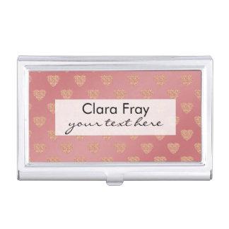 modelo de lunares color de rosa de los corazones caja de tarjetas de negocios