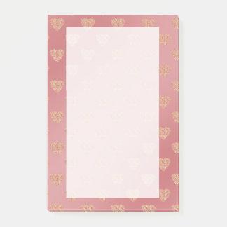 modelo de lunares color de rosa de los corazones notas post-it®