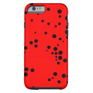 Modelo de lunares negro y rojo funda de iPhone 6 tough