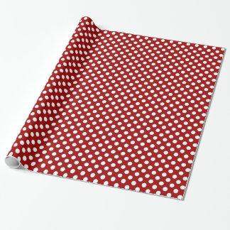 Modelo de lunares rojo oscuro y blanco de moda papel de regalo