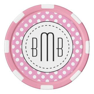 Modelo de lunares rosado lindo fichas de póquer