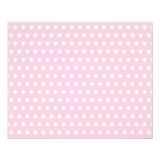 Modelo de lunares rosado y blanco folleto 11,4 x 14,2 cm