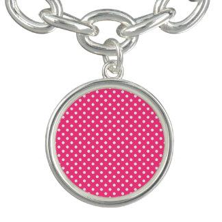 Modelo de lunares rosado y blanco pulsera