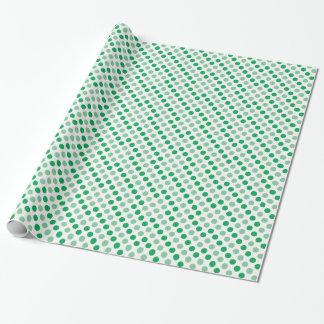Modelo de lunares verde papel de regalo