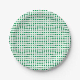 Modelo de lunares verde plato de papel
