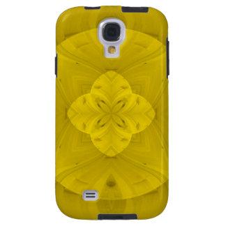Modelo de madera abstracto amarillo funda galaxy s4