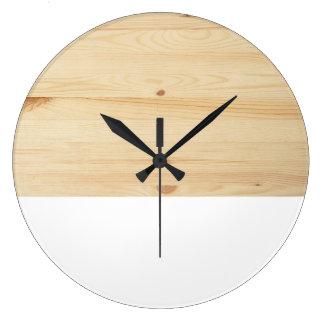 Modelo de madera blanco marrón claro moderno del reloj redondo grande