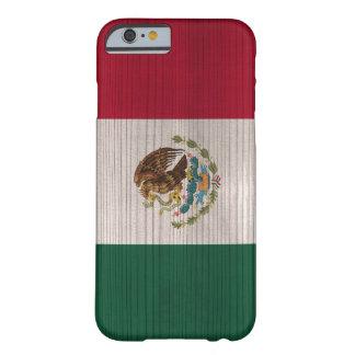 Modelo de madera con la bandera grabada de México Funda Barely There iPhone 6