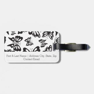Modelo de mariposa - blanco y negro etiqueta para maletas