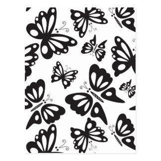 Modelo de mariposa - blanco y negro postal
