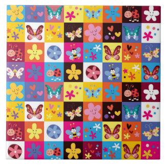 Modelo de mariposa de moda enrrollado azulejo cuadrado grande