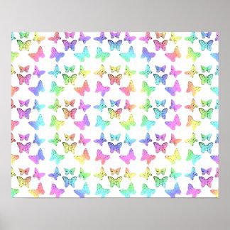 Modelo de mariposa en colores pastel impresiones