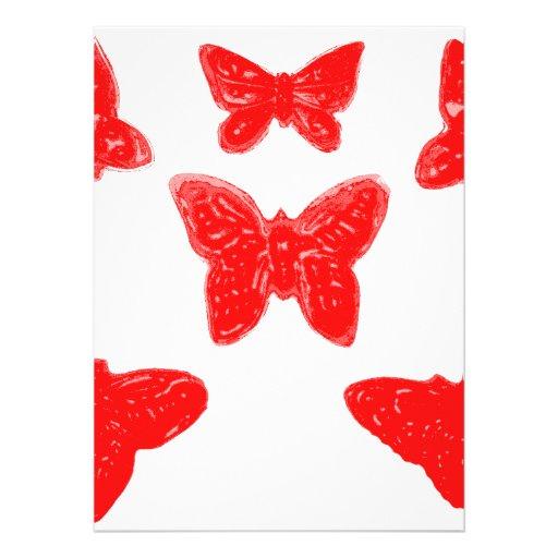 Modelo de mariposa rojo comunicado personalizado
