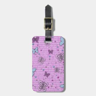 Modelo de mariposa rosado y púrpura etiqueta para maletas