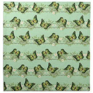 Modelo de mariposas verde servilleta de tela