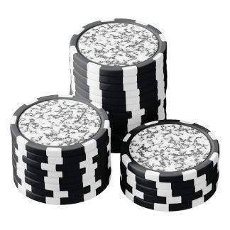 Modelo de mármol blanco y negro juego de fichas de póquer