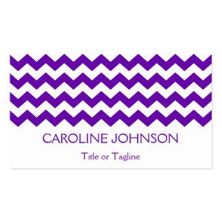 Modelo de moda de Chevron de la raya púrpura Tarjetas De Visita
