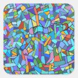Modelo de mosaico azul colorido abstracto colcomanias cuadradas personalizadas