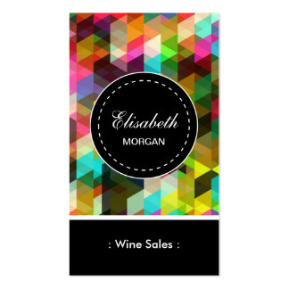 Modelo de mosaico colorido de las ventas del vino tarjeta de negocio