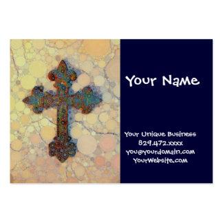 Modelo de mosaico cruzado cristiano fresco del cír tarjetas personales