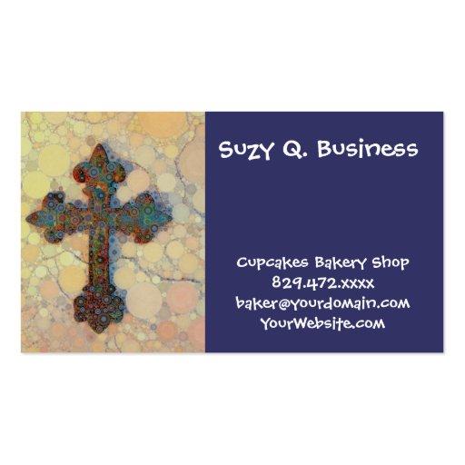 Modelo de mosaico cruzado cristiano fresco del cír tarjeta de visita
