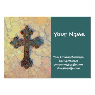 Modelo de mosaico cruzado cristiano fresco del cír tarjetas de visita