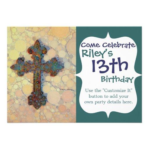 Modelo de mosaico cruzado cristiano fresco del invitaciones personales
