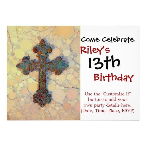 Modelo de mosaico cruzado cristiano fresco del invitación personalizada