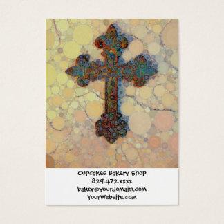 Modelo de mosaico cruzado cristiano fresco del tarjeta de negocios
